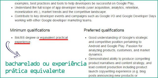 Requerimento trabalhar no Google