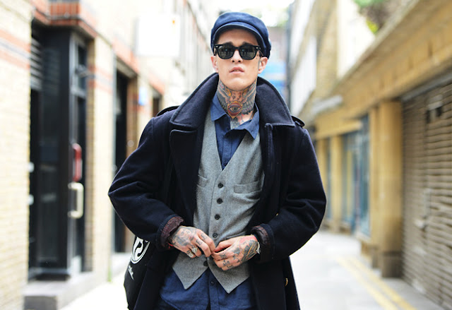 street style london collections men menswear tattoo neck model tommy ton