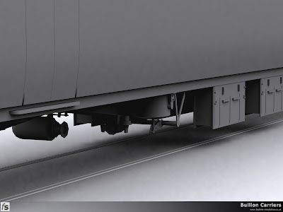 Fastline Simulation - Bullion Carriers: An in development render of the NWX Bullion Van for Train Simulator 2013. A closeup render of the underframe showing a vacuum cylinder and some of the associated brake rodding, the dynamo on the far side and two of the battery boxes.