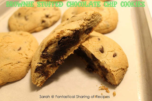 Brownie Stuffed Chocolate Chip Cookies - never choose between a cookie and a brownie again! #brownie #cookie #dessert