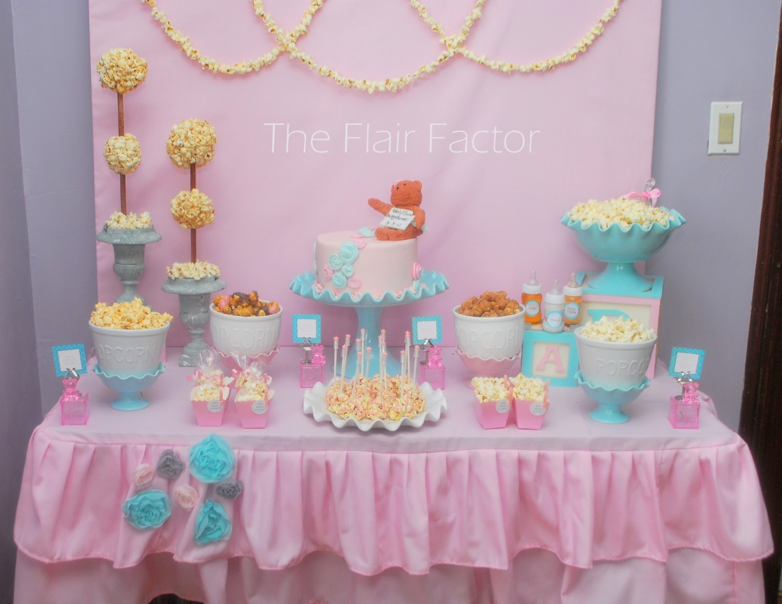 F te fanatic baby shower popcorn buffet for Baby shower decoration pics