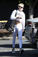 Miley Cyrus wearing white spandex