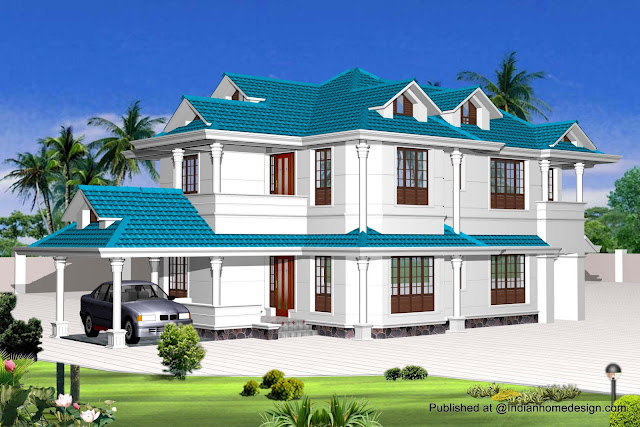 Autocad front elevation for South indian model house plan