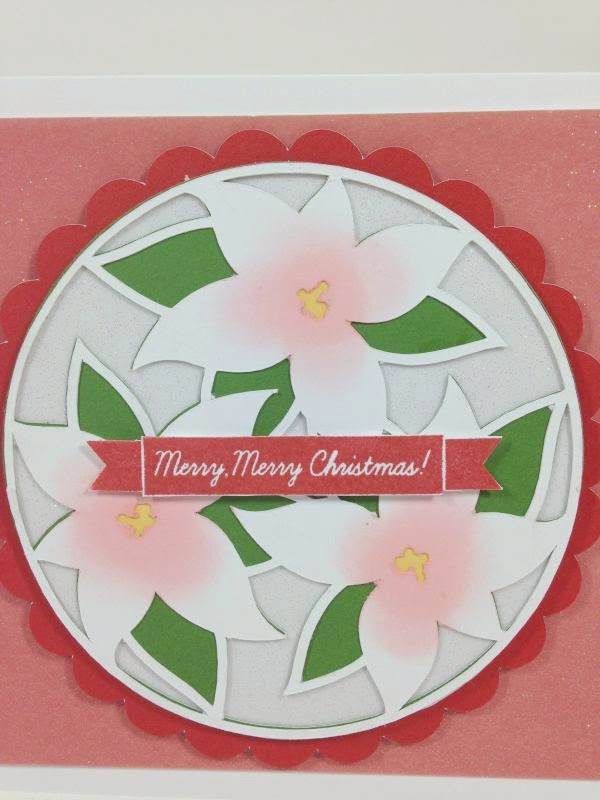 Cricut Holly and Ivy Merry Merry Christmas Poinsettia card close up