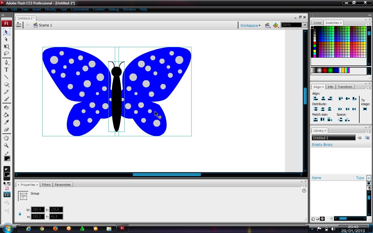 step8.grup objek badan kupu-kupu yang sudah kita buat dan pindahkan ke ...