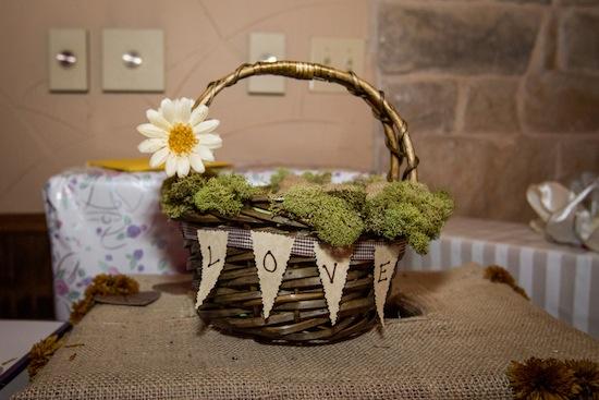 Moss covered basket decor