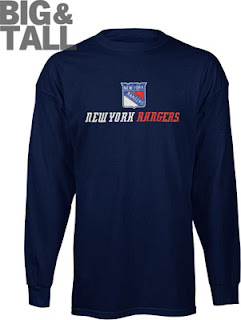 Big and Tall New York Rangers Long Sleeve Shirt
