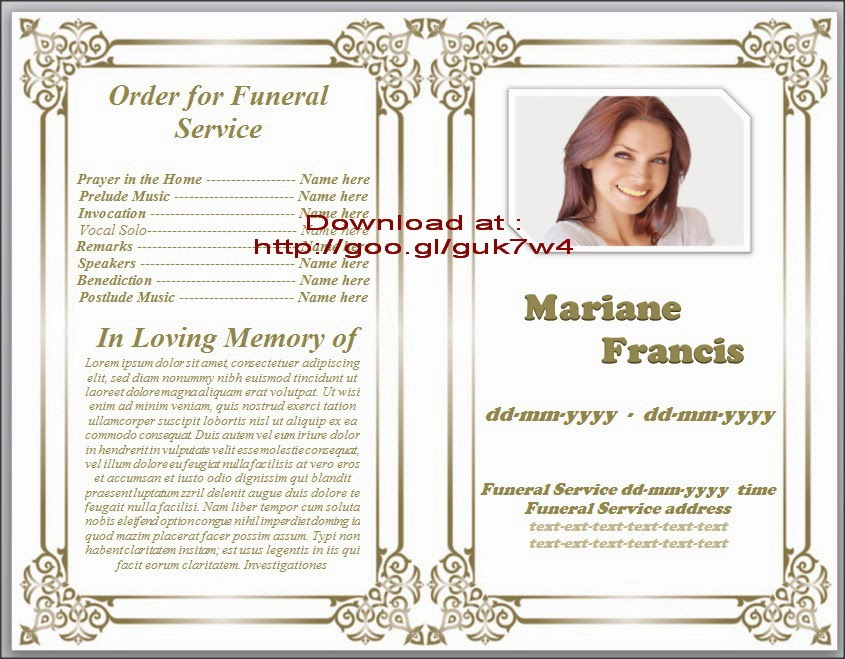 Free Printable Obituary Templates  Free Funeral Program Templates Download