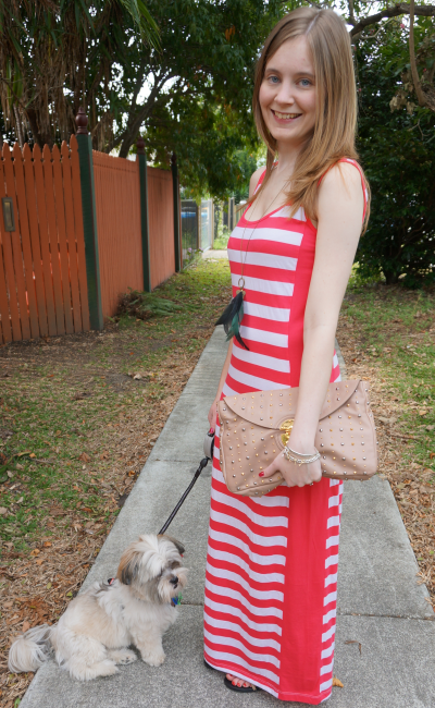 Away From Blue what to wear Brisbane riverfire festival fireworks stripe maxi dress