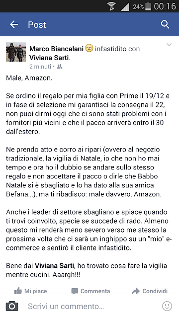 Male Amazon, Grazie Amazon: Natale, e-commerce e tempi di consegna