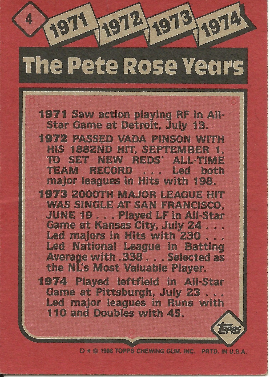 1986 Topps Blog 4 The Pete Rose Years 1971 1974