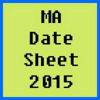 BZU Multan MA Date Sheet 2016 Part 1 and Part 2