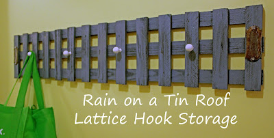 Leftover Lattice Hook Storage {rainonatinroof.com} #DIY #Lattice #Storage #Hook