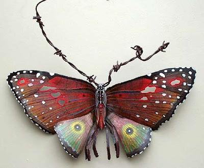 mariposa metal insecto reciclaje