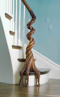 wood trunk banister