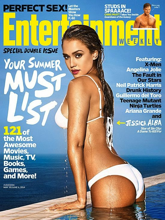 The 33-year-old looks more comfortable in a white bikini while drawing her still perfect point for May 30 / June 6, 2014 Issue of the Entertainment Weekly magazine.