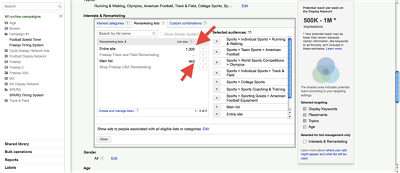 Remarketing tutorial screenshot shows how to add remarketing lists to display network inventory