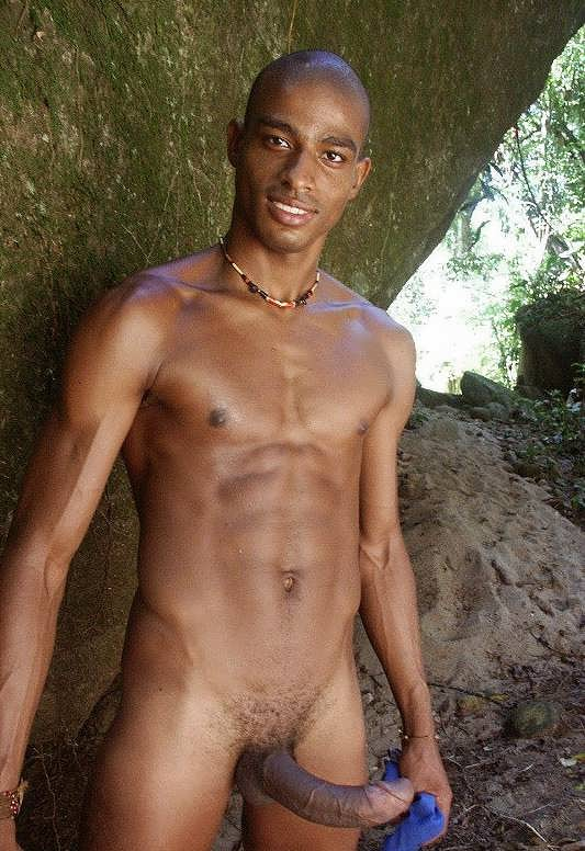 Nude black young man