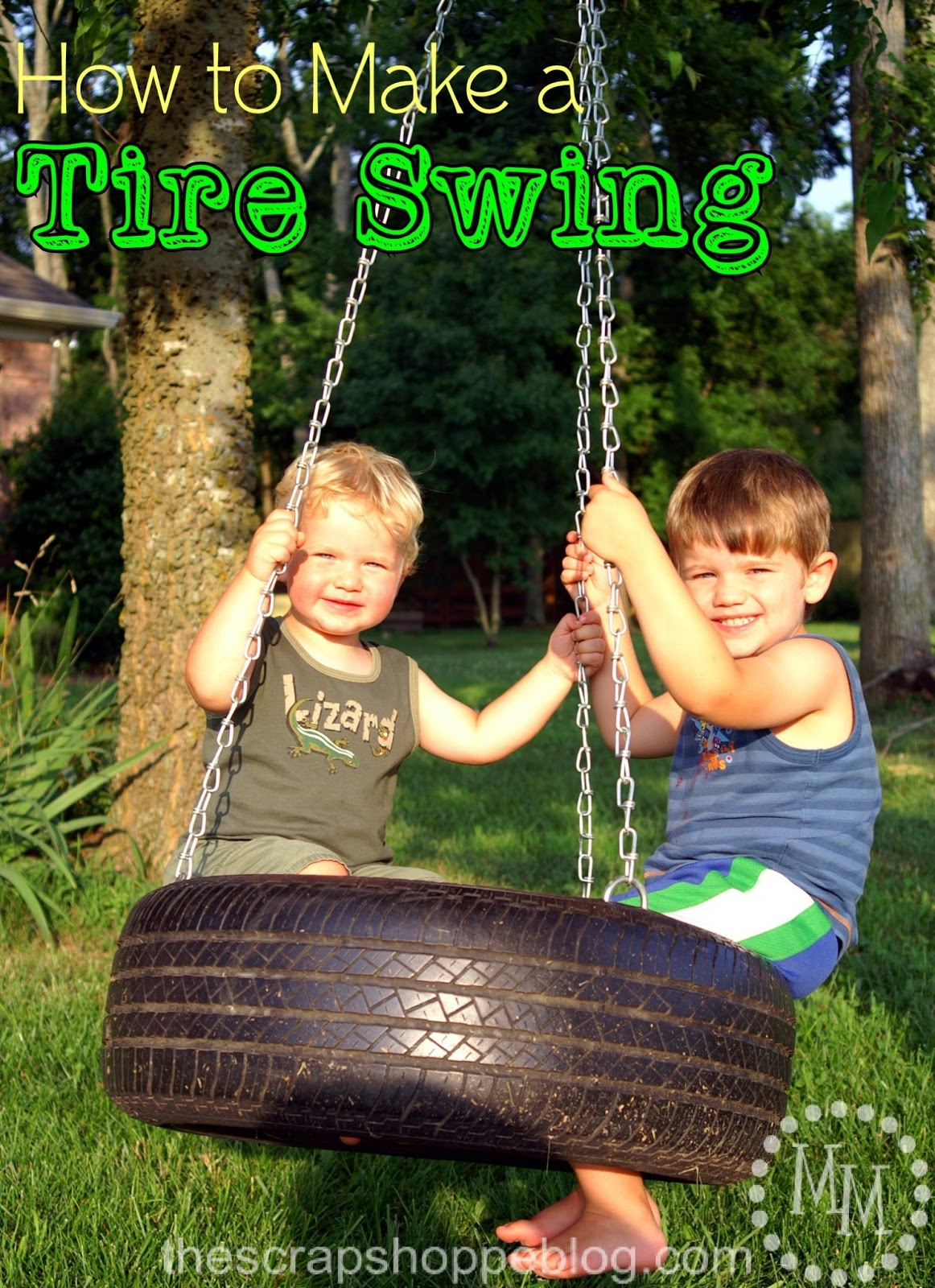how to make a tire swing the scrap shoppe. Black Bedroom Furniture Sets. Home Design Ideas