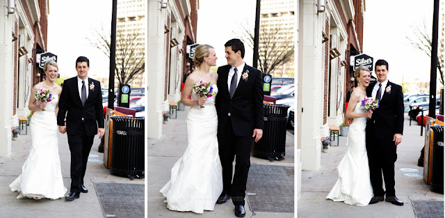 Bride and Groom on Massachusetts Avenue in Indianapolis