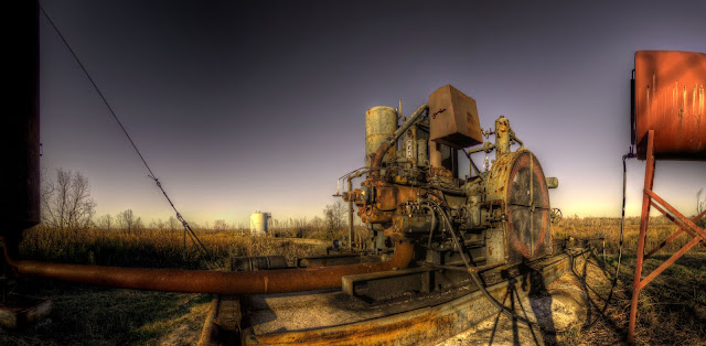 Machinery at pumping station in George Bush Par - Houston Texas - HDR Panoramic