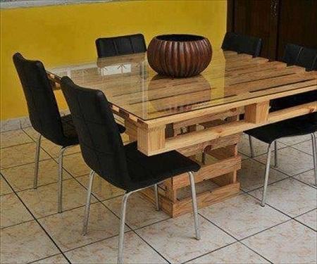 Mesa de comedor con palets reciclados for Muebles de palets reciclados