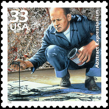 In 1999, the US Postal Service stamp showing Jackson Pollock painting without the cigarette hangingfrom his lips.