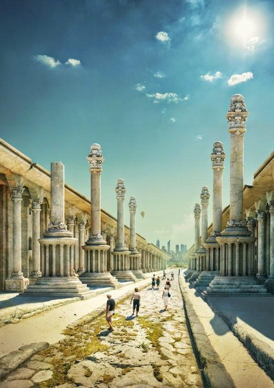 Evgeny Kazantsev ilustrações photoshop maravilhas mundo antigo histórico