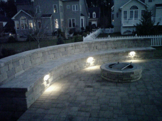 Custom stoneworks design inc outdoor couch and fire pit with lights