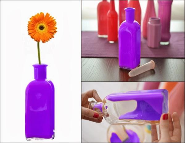 Manualidades creativas y faciles floreros de botellas de vidrio pintadas decoraci n con - Fabrica de floreros de vidrio ...
