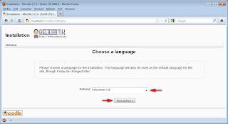 Pemilihan Bahasa pada instalasi Moodle