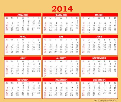 2014, Calendar, printable, png