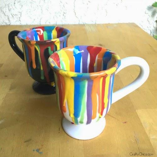 Rainbow Drip Mugs The Crafty Chica