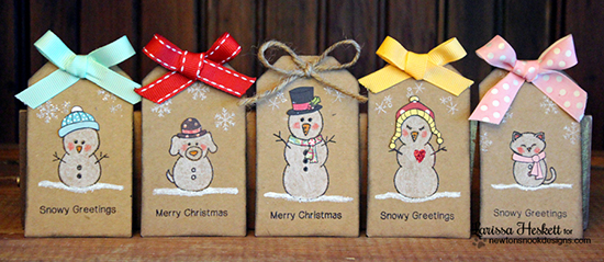 Snow Family Christmas tags by Larisssa Heskett for Newton's Nook Designs - Flaky Family Snowman Stamp Set
