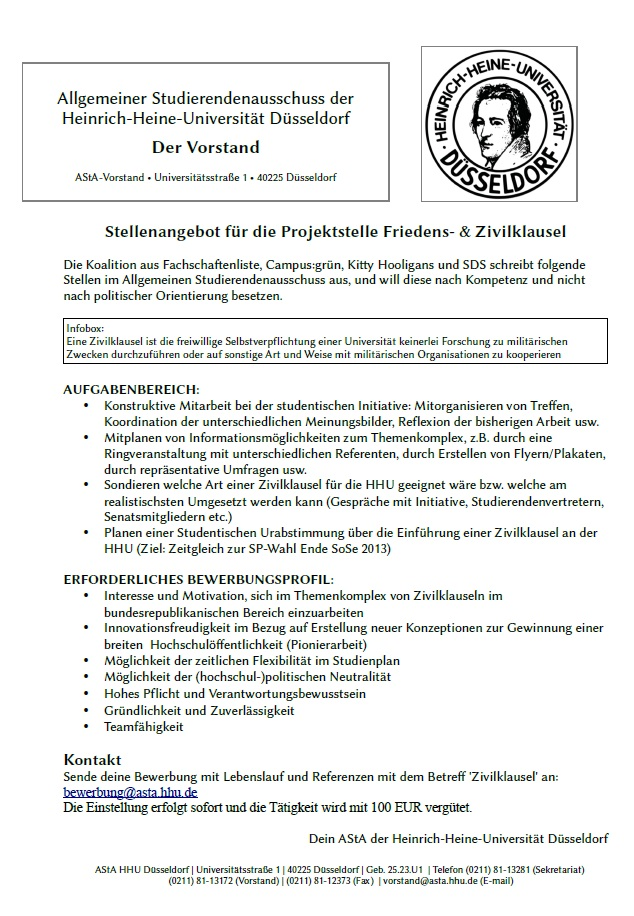 wir erhoffen uns kreative bewerbungen engagierter studierender welche das thema zivilklausel noch strker in den fokus universitren interesses rcken - Uni Dsseldorf Bewerbung
