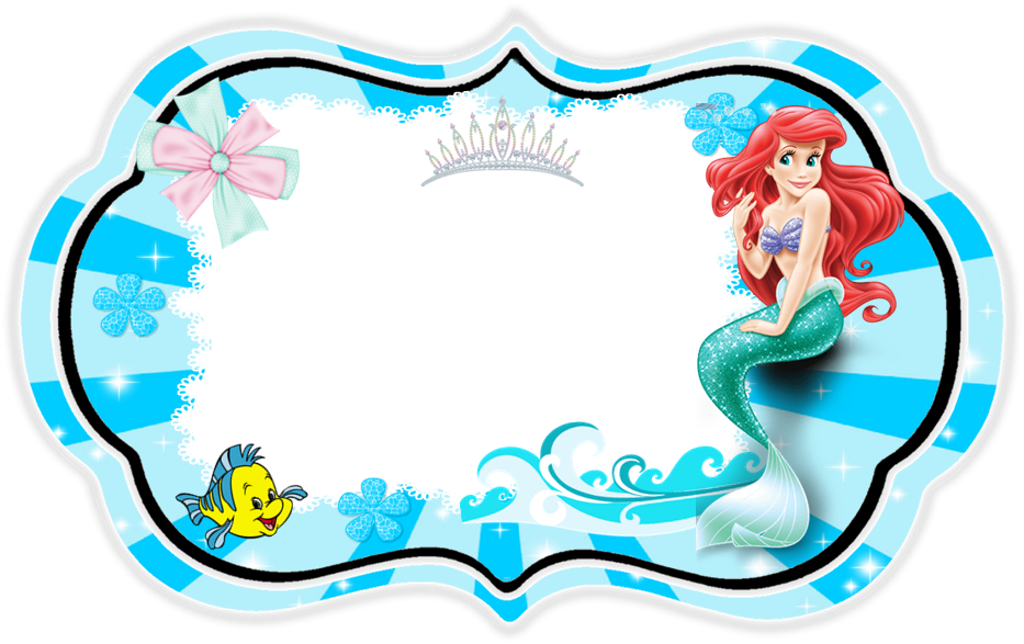 The Little Mermaid: Free Printable Invitation, Cards or Photo Frames.