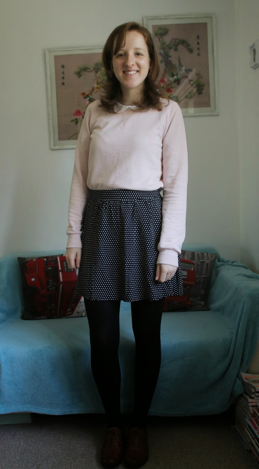 OOTD: Pink Peter Pan Collar and Spotty Skirt