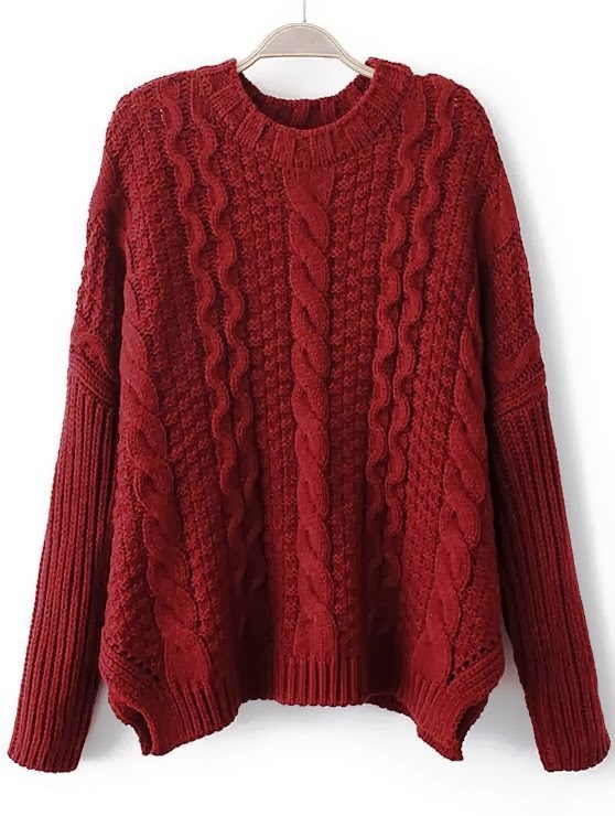 Wine red sleeve cable knit loose sweater