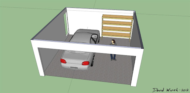 google sketch up garage car shelf, how to make, build, dimensions