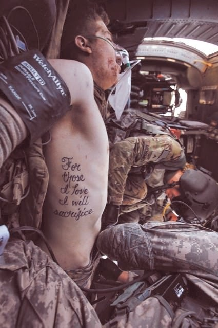 The tattoo of wounded soldier Kyle Hockenberry becomes truth. - The 63 Most Powerful Photos Ever Taken That Perfectly Capture The Human Experience