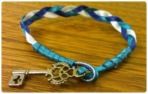 craftypainter: Braided ribbon key charm bracelet by craftypainter