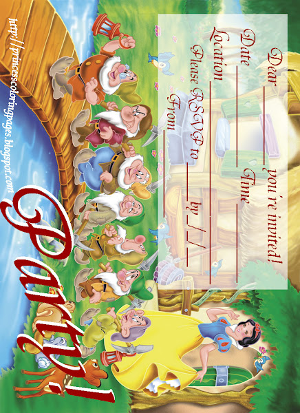 Snow White Birthday Party Invitations Free