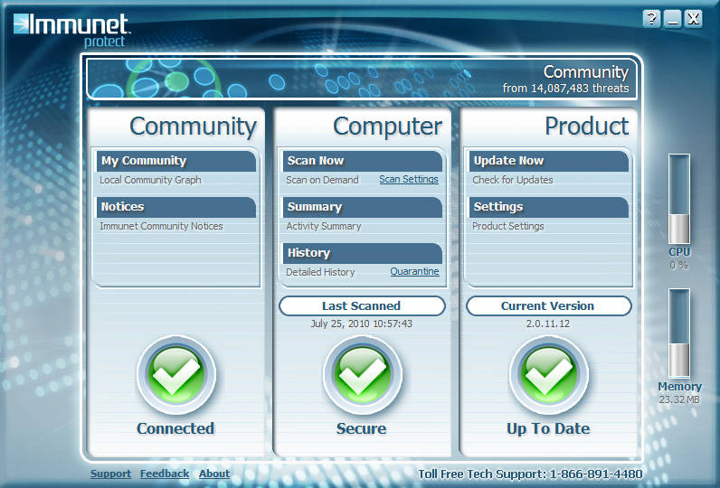 ����� ������ ������ ��������� Immunet Protect Free 3.0.5.7980
