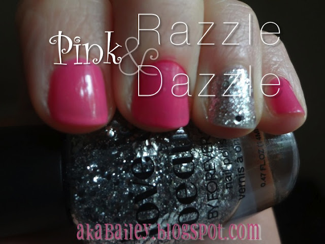 pink nails with sparkly accent