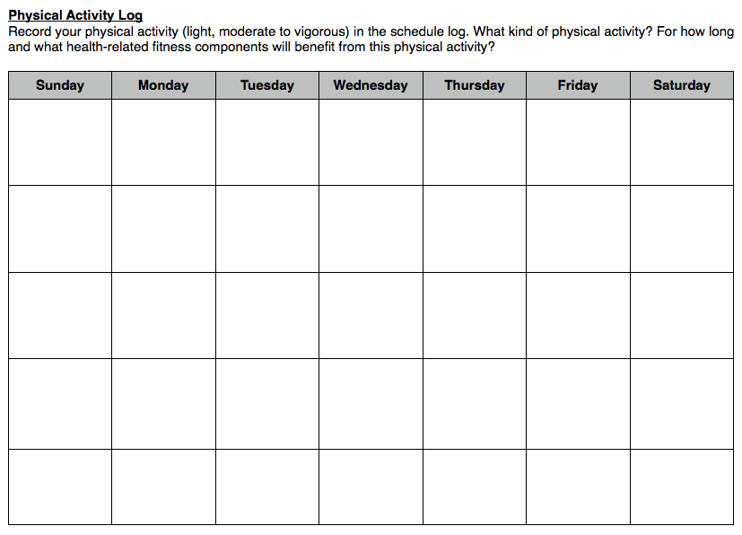 Homework log sheet