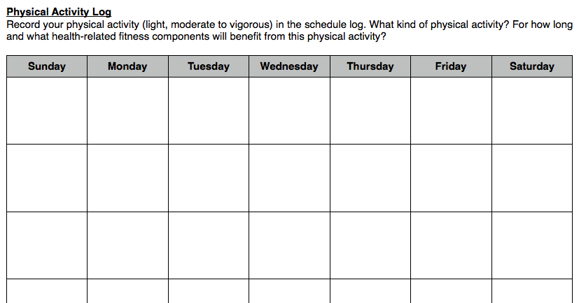 access to healthy active living 2013  physical activity log
