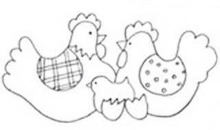 Riscos para pintura de galinhas