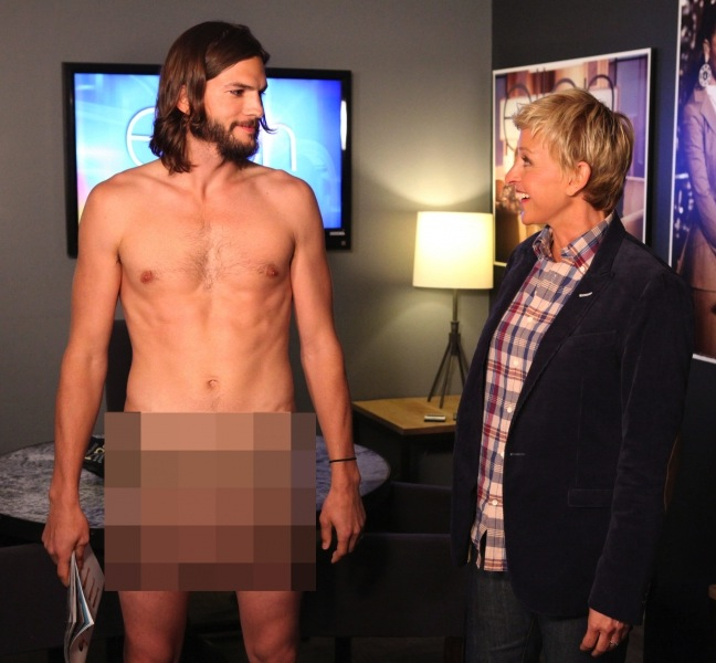 Ashton Kutcher Appeared Naked On  The Ellen DeGeneres Show    VIDEO