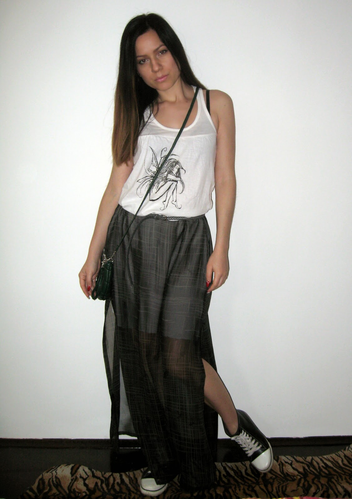 sheer maxi skirt, white tank top, aldo sneakers, black converse, green over the shoulder bag, casual outfit, thrifted maxi skirt, DIY maxi skirt