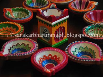 Diwali diya decoration sanskar bharti rangoli for Art and craft diya decoration